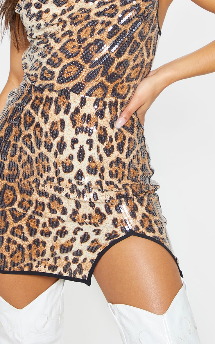 Leopard Sequin Cowl Neck Bodycon Dress 6