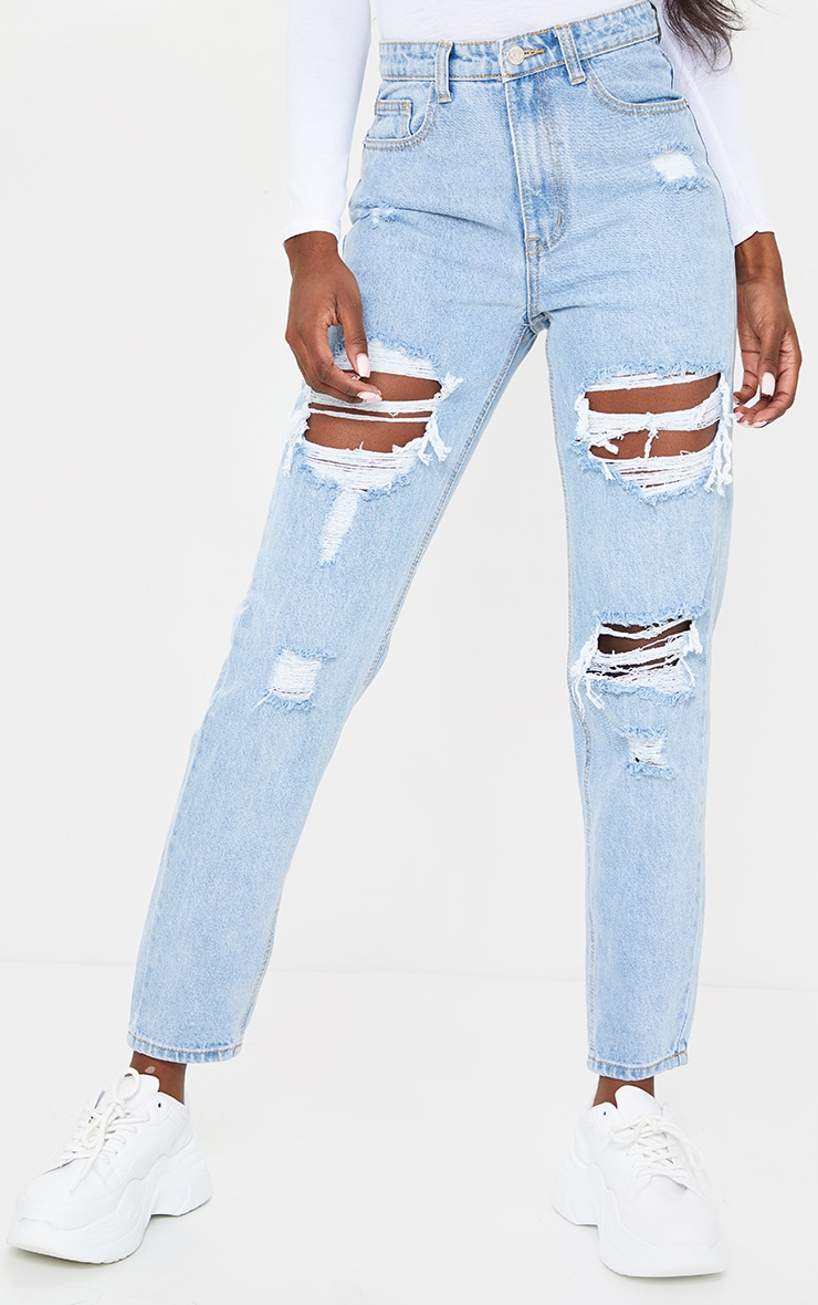 PRETTYLITTLETHING Tall Light Blue Distressed Mom Jeans 2