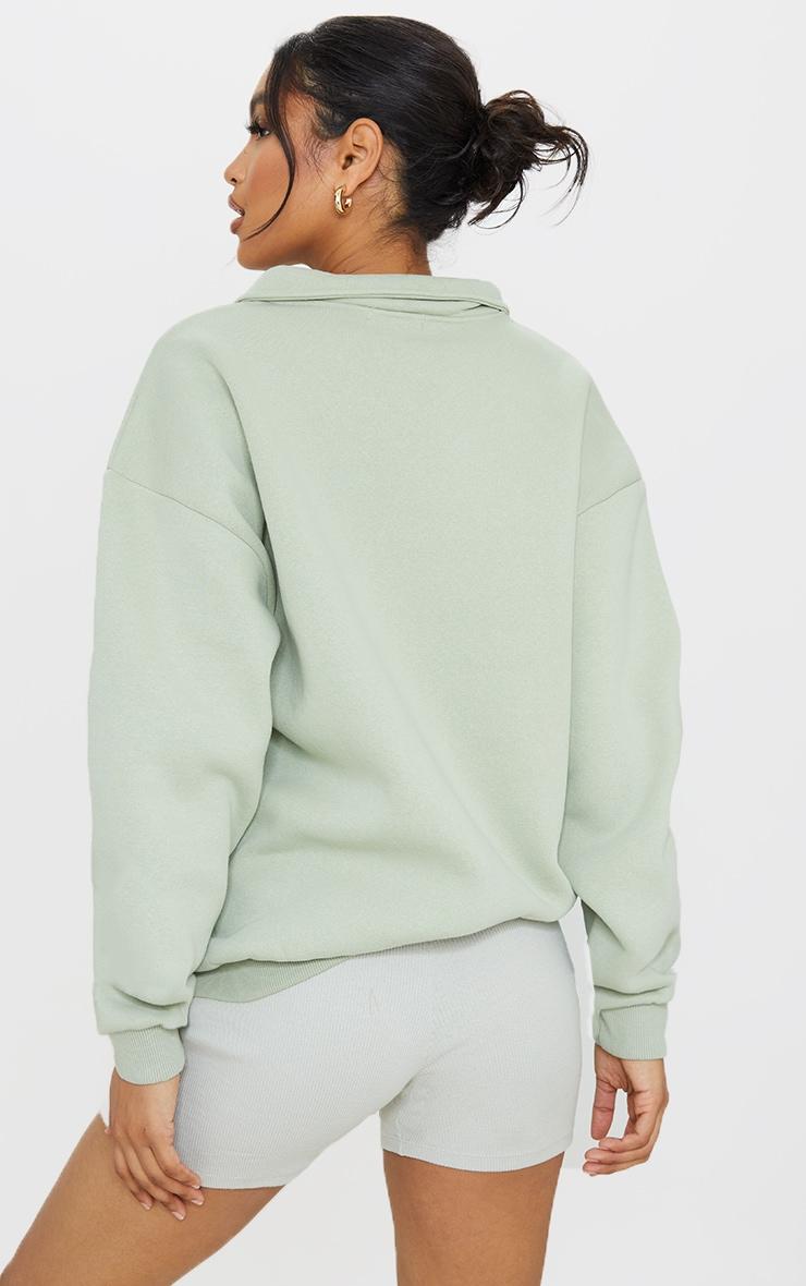 Sage Green Fleece Collar Oversized Sweat 2