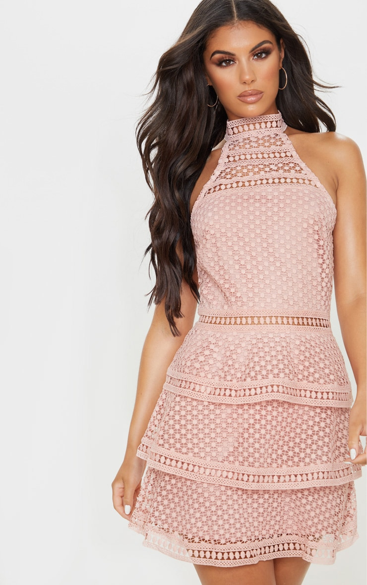 Dusty Pink Lace Panel Tiered Bodycon Dress 1