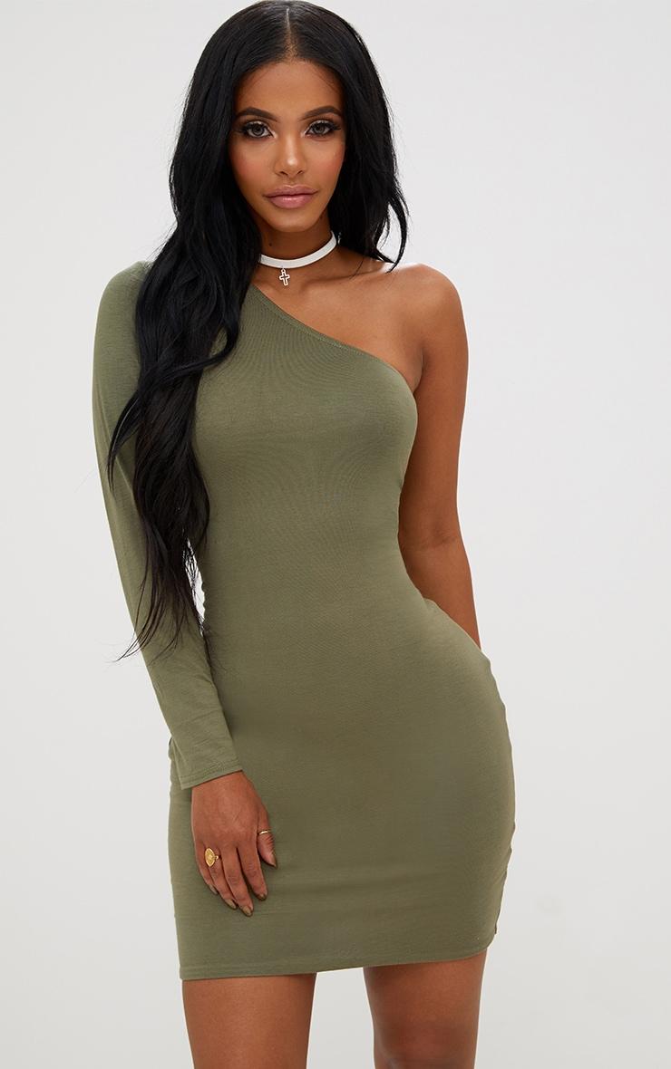 Shape Khaki One Shoulder T Shirt Dress 1