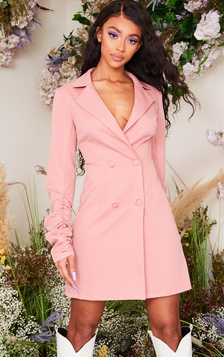 Rose Long Ruched Sleeve Woven Blazer Dress 1