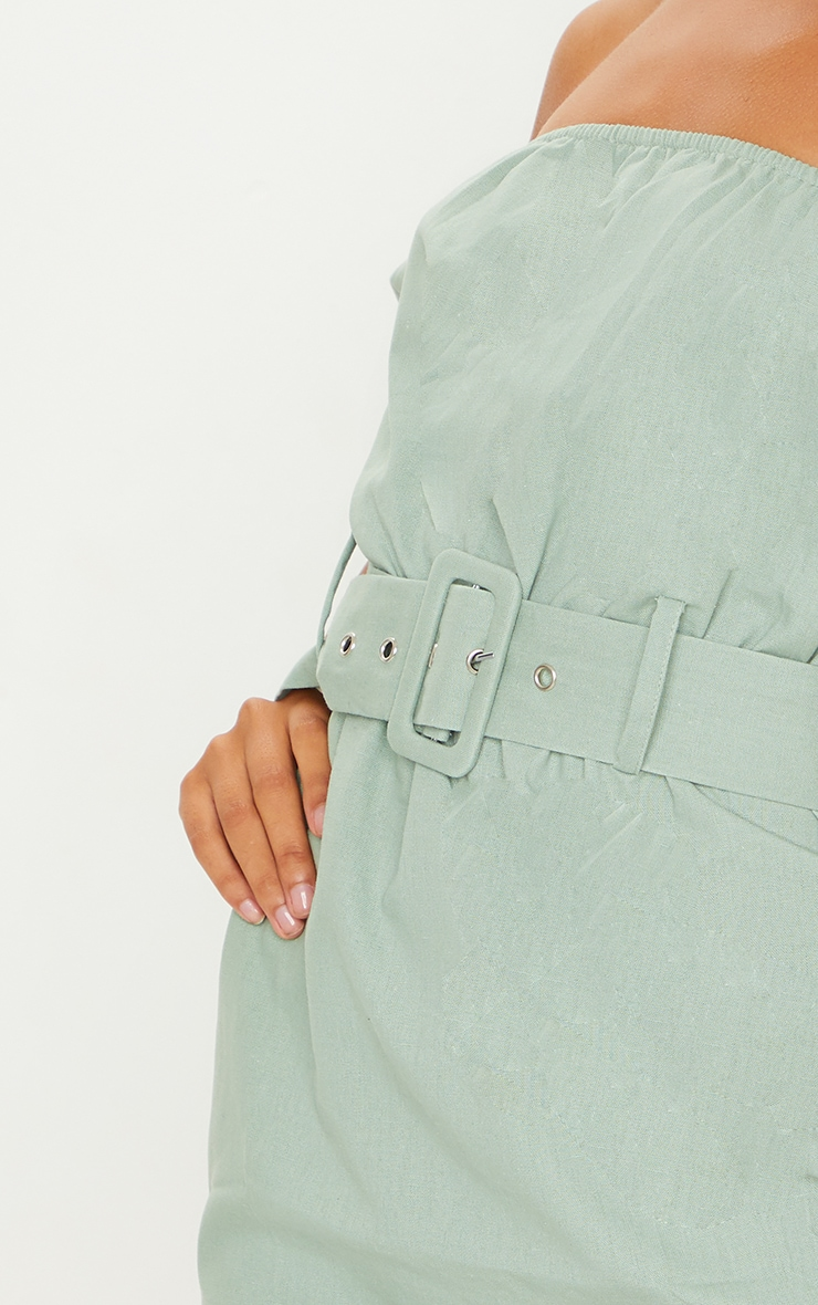 Sage Green Belt Detail Bardot Shift Dress 4