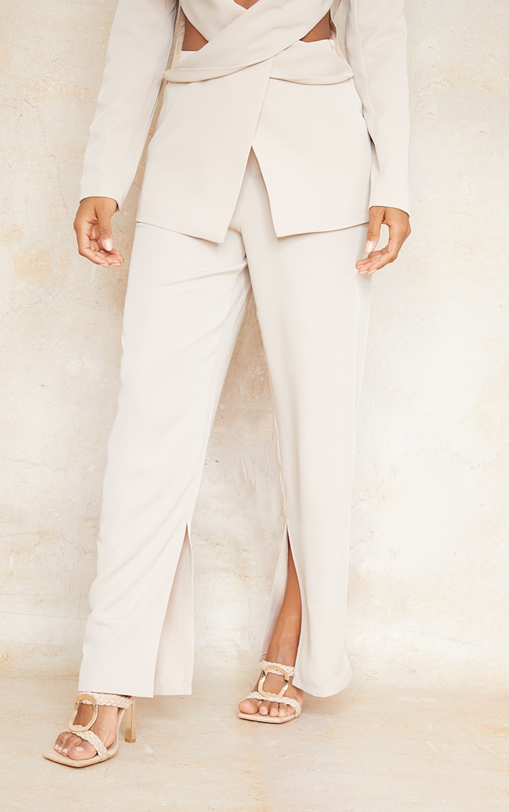 Stone Woven Tailored Straight Leg Trousers 2