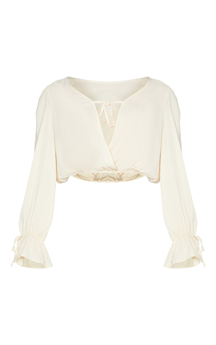 Cream Chiffon Front Tie Detail Cropped Blouse 5