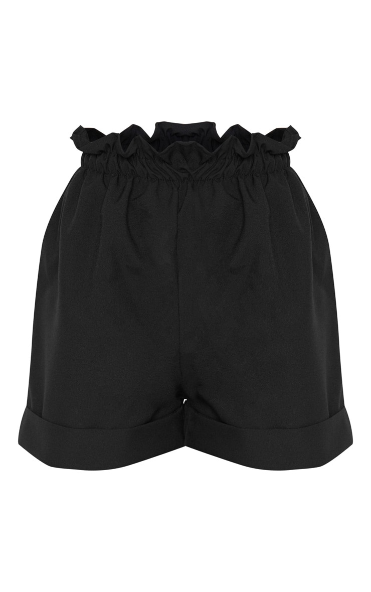 Black Woven Turn Up Hem Short 6