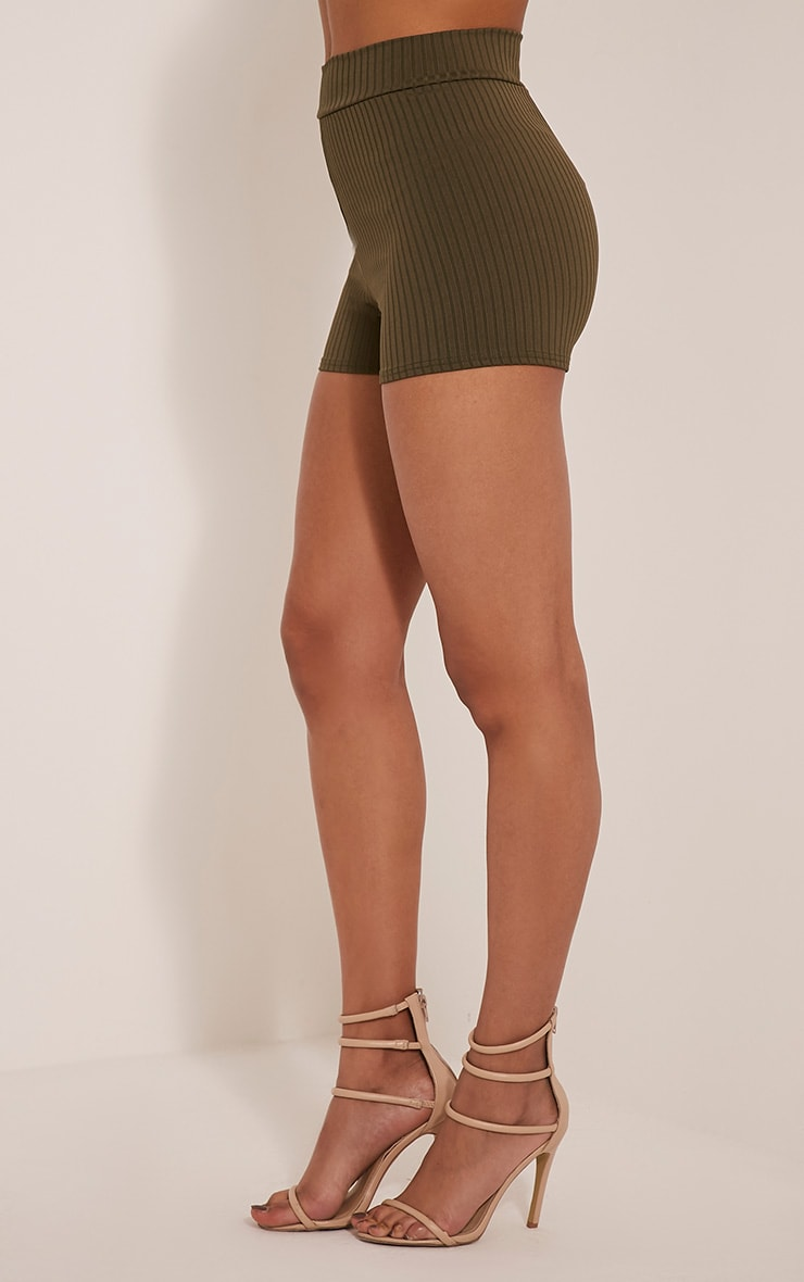 Janice Khaki Ribbed Shorts 4