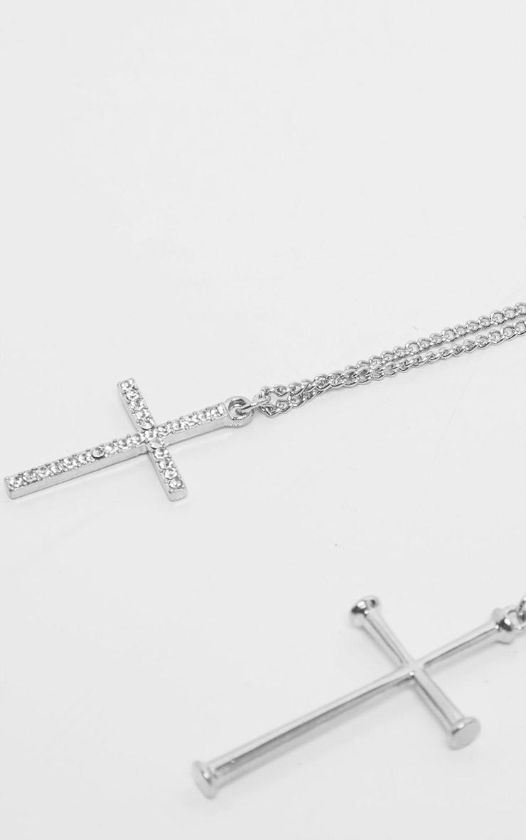 Silver Diamante Double Cross Layering Necklace 4