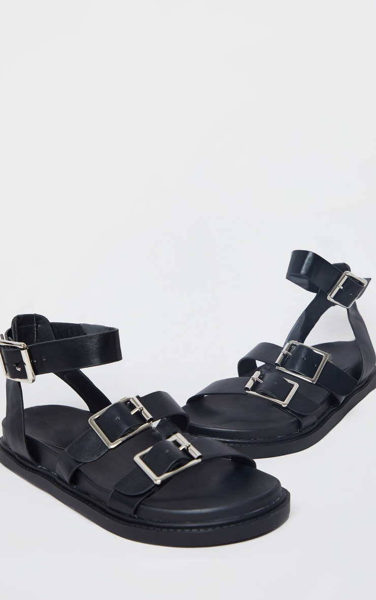 Black PU Square Buckle Detail Sandals 4