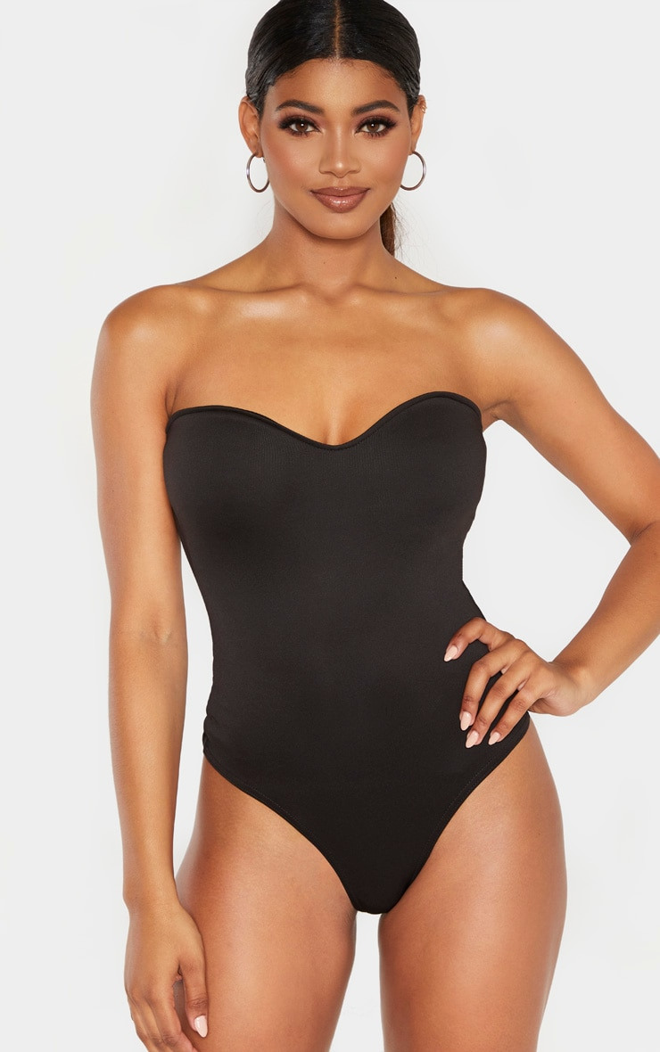 Tall Black Strapless Sweetheart Bodysuit 2