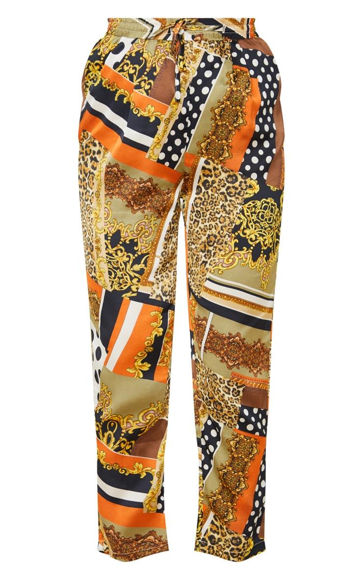 Khaki Chain Print Cigarette Trouser 3