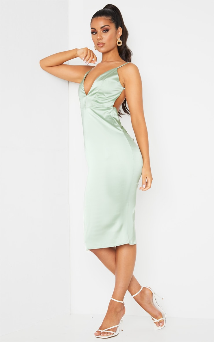 Sage Green Satin Plunge Ruched Bum Midi Dress 3