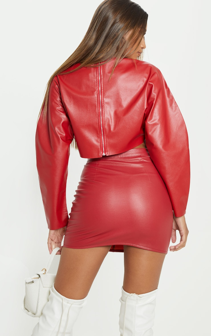 Red Faux Leather Crop Sweater 2