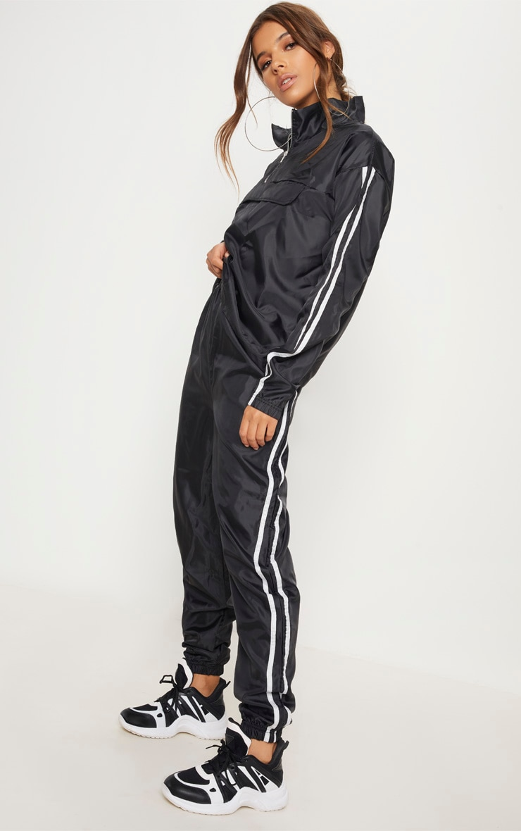Black Contrast Sport Stripe Shell Cuff Jogger