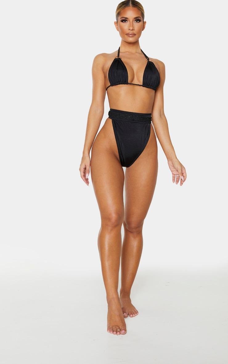 Black Strappy Rope Bikini Bottom 5