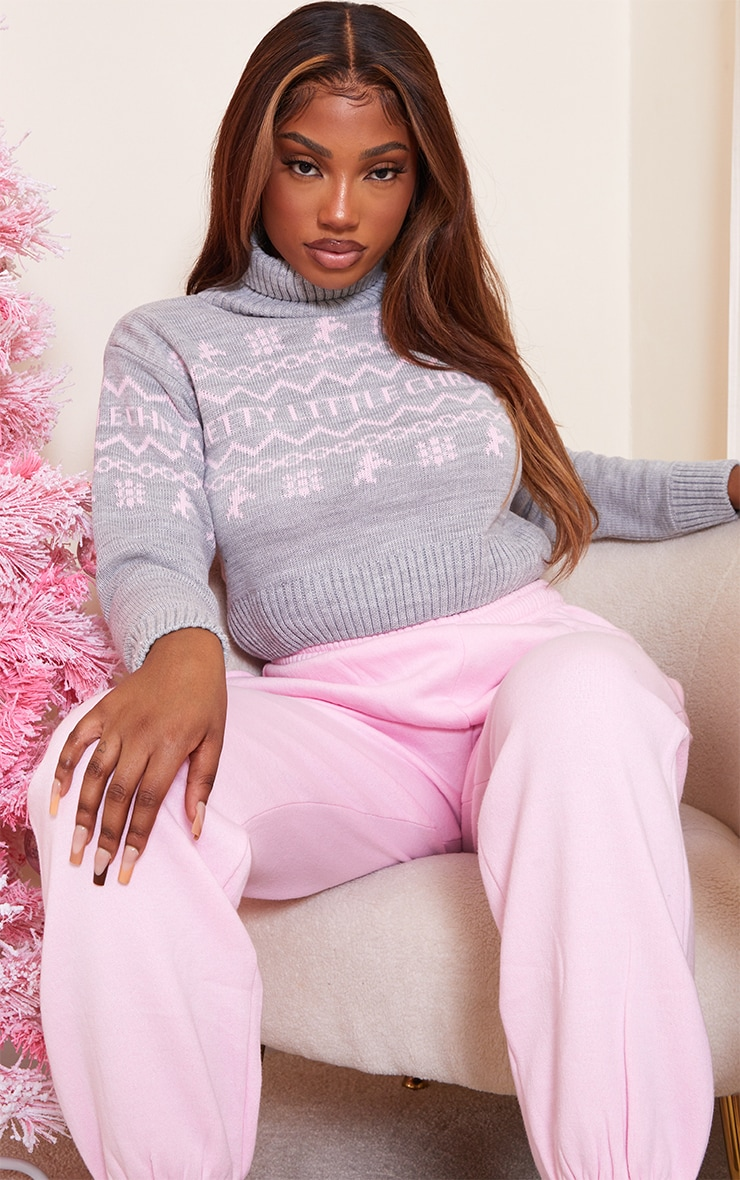 PRETTYLITTLETHING Grey Roll Neck Christmas Crop Jumper 1