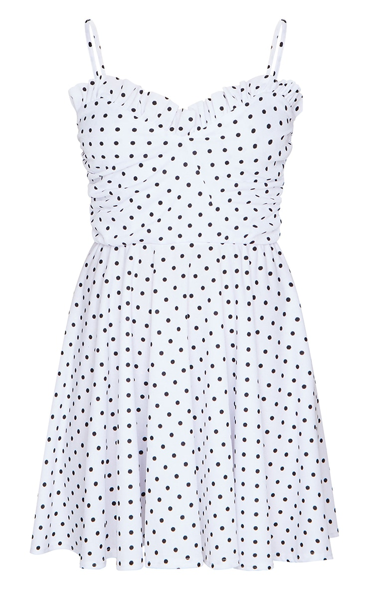 White Polka Dot Frill Tie Detail Strappy Skater Dress 5