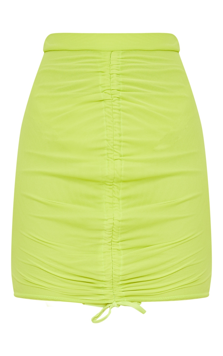 Lime Mesh Ruched Front Mini Skirt  3