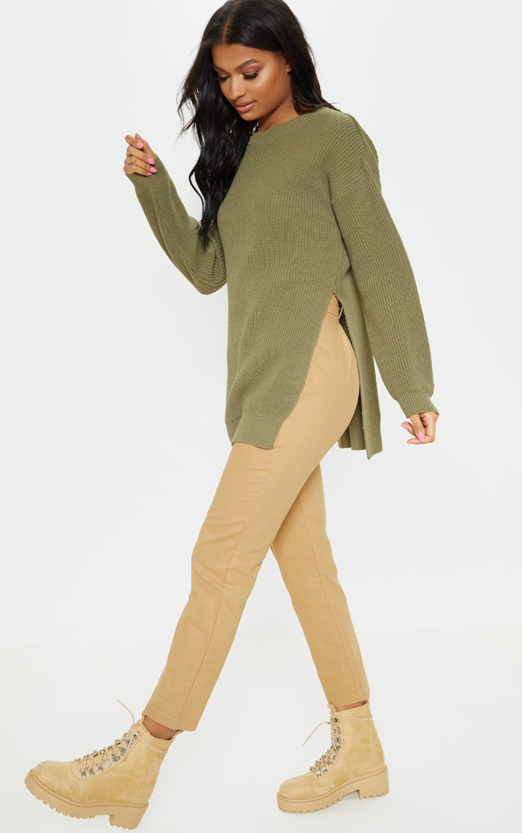 Rexx Khaki Round Neck Side Split Jumper 4