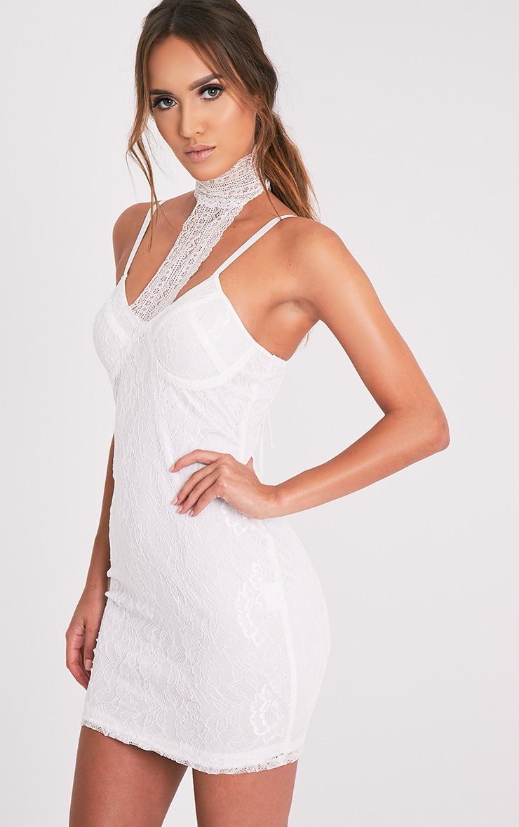 Victoria White Choker Detail Lace Bodycon Dress 8