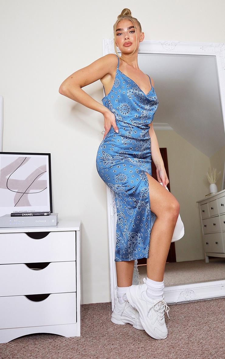 Blue Bandana Print Strappy Satin Cowl Midi Dress 3