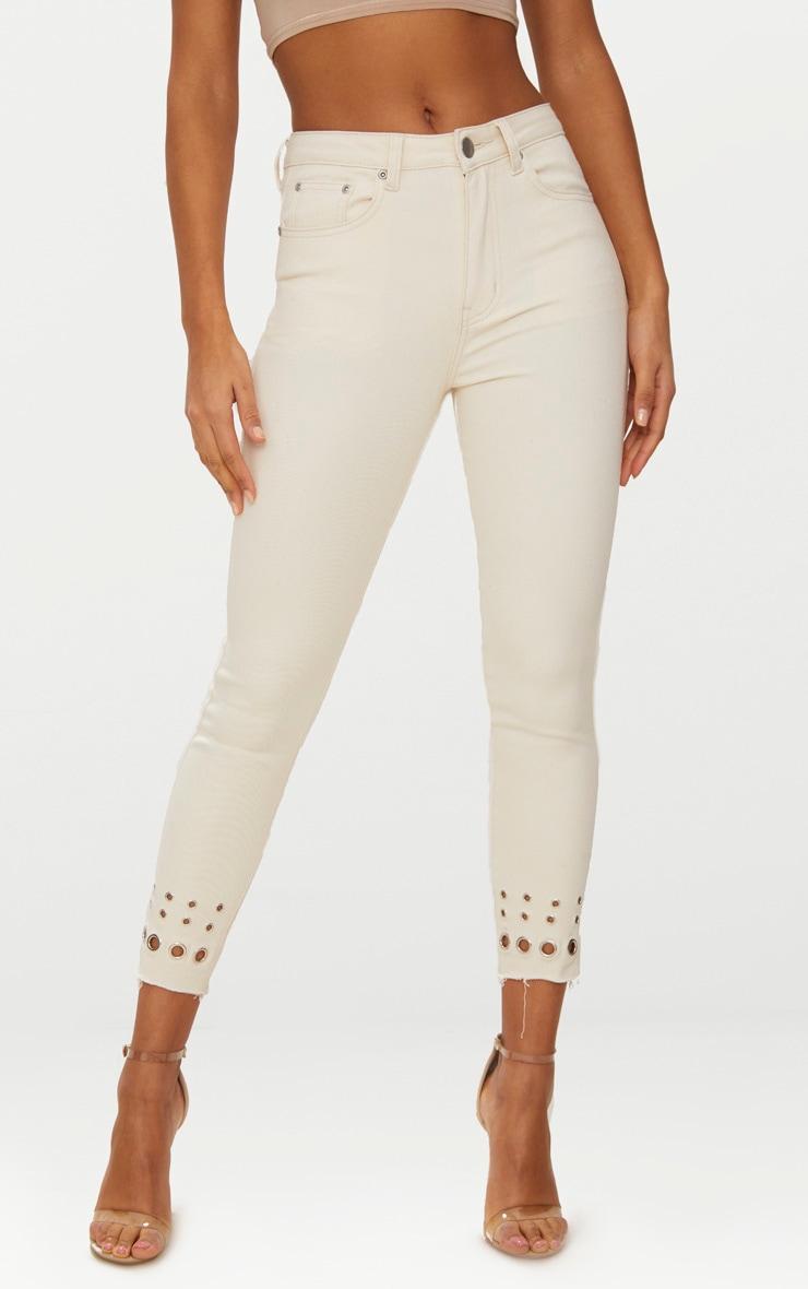 Ecru Eyelet Hem 5 Pocket Skinny Jean 2