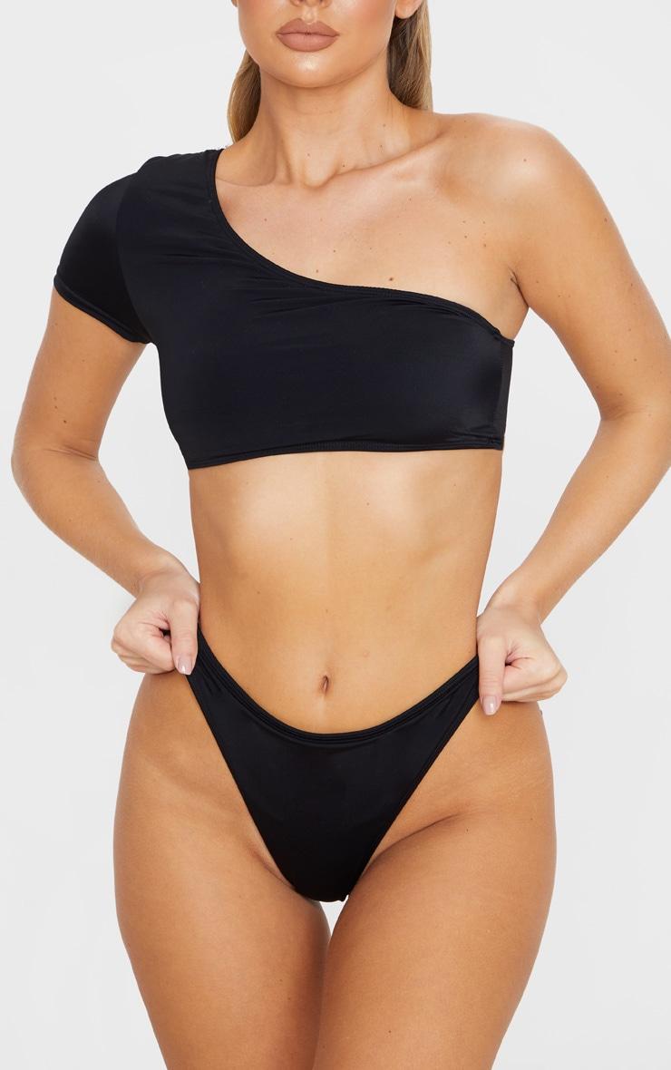 Black High Leg Cheeky Bikini Bottom 1