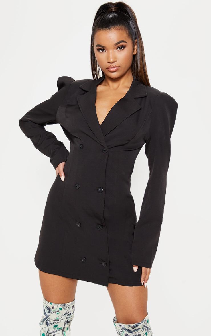 Black Button Long Sleeve Blazer Dress 4