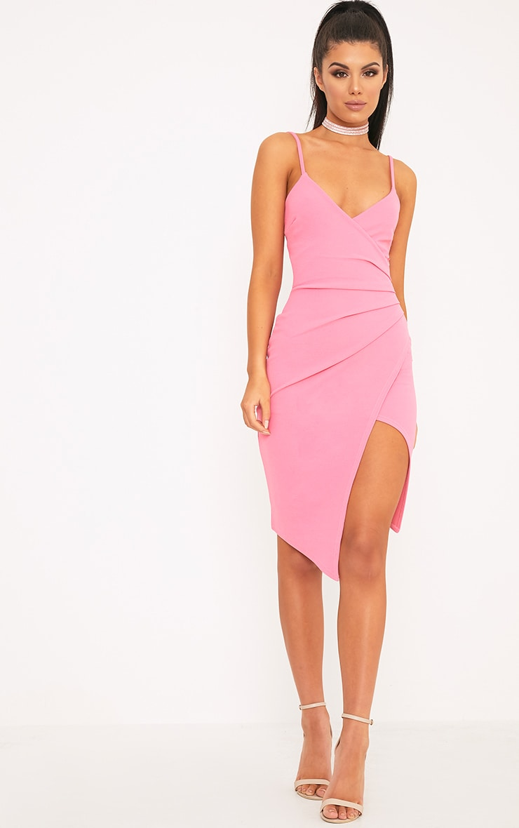 Lauriell Hot Pink Wrap Front Crepe Midi Dress 3