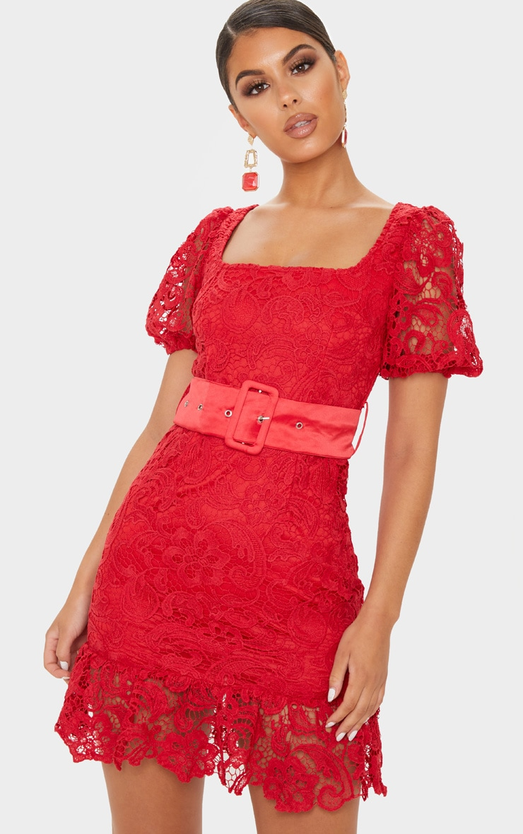 Red Lace Belted Puff Sleeve Bodycon Dress 4