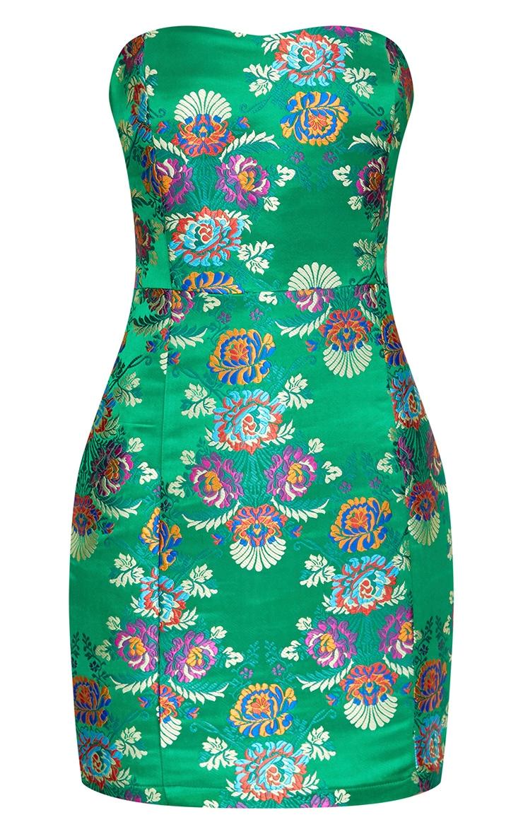 Bright Green Oriental Satin Bandeau Bodycon Dress  3