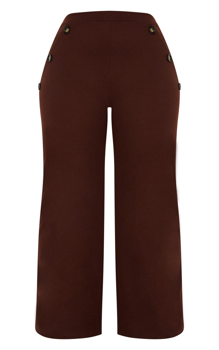 Plus Chocolate Brown Button Detail Wide Leg Trousers 3