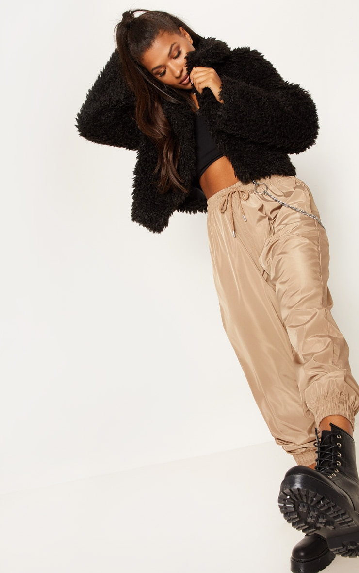 Black Teddy Faux Fur Cropped Jacket  4