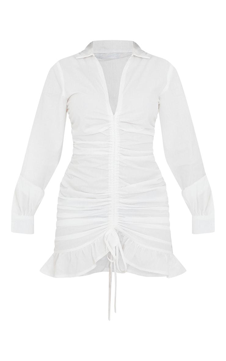 White Long Sleeve Ruched Frill Hem Shirt Dress 5