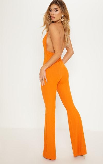 1dda1094aa5 Orange Bandage Plunge Flared Leg Jumpsuit