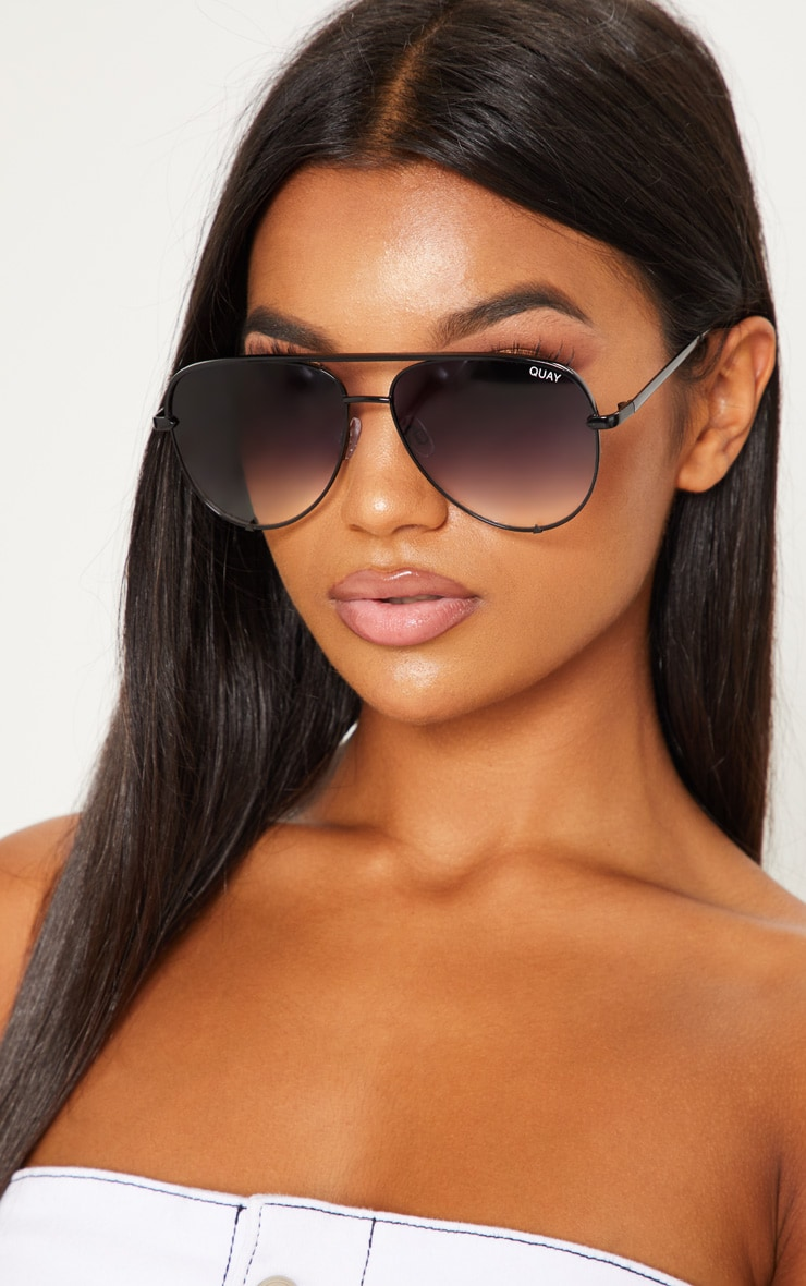 b96dac049b QUAY AUSTRALIA Black X Desi High Key Aviator Sunglasses image 1