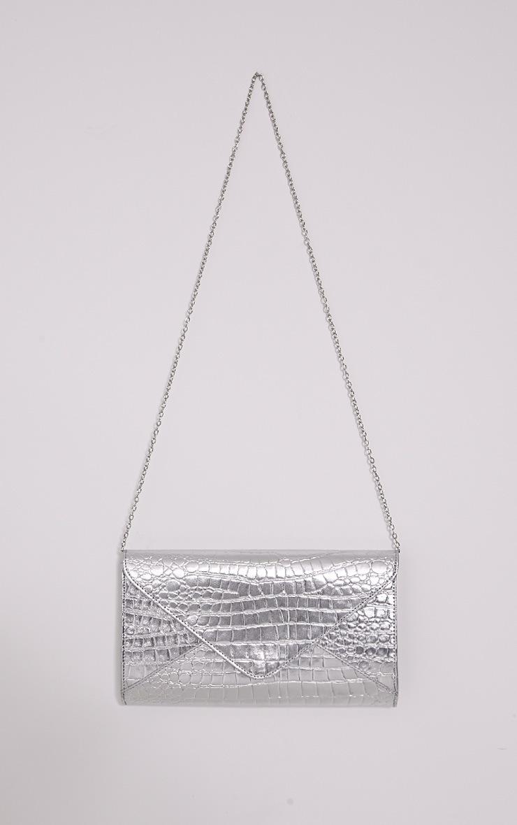 Janie Silver Metallic Croc Clutch Bag 4