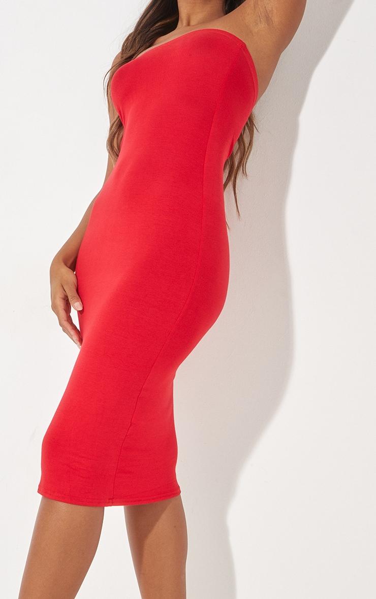 فستان ميداكسي باندو سادة باللون الأحمر 5