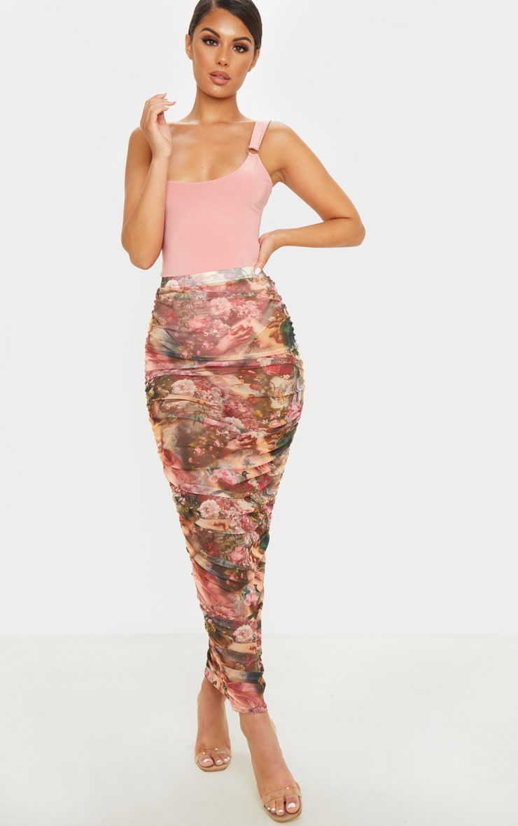 Camel Renaissance Mesh Ruched Midaxi Skirt  1