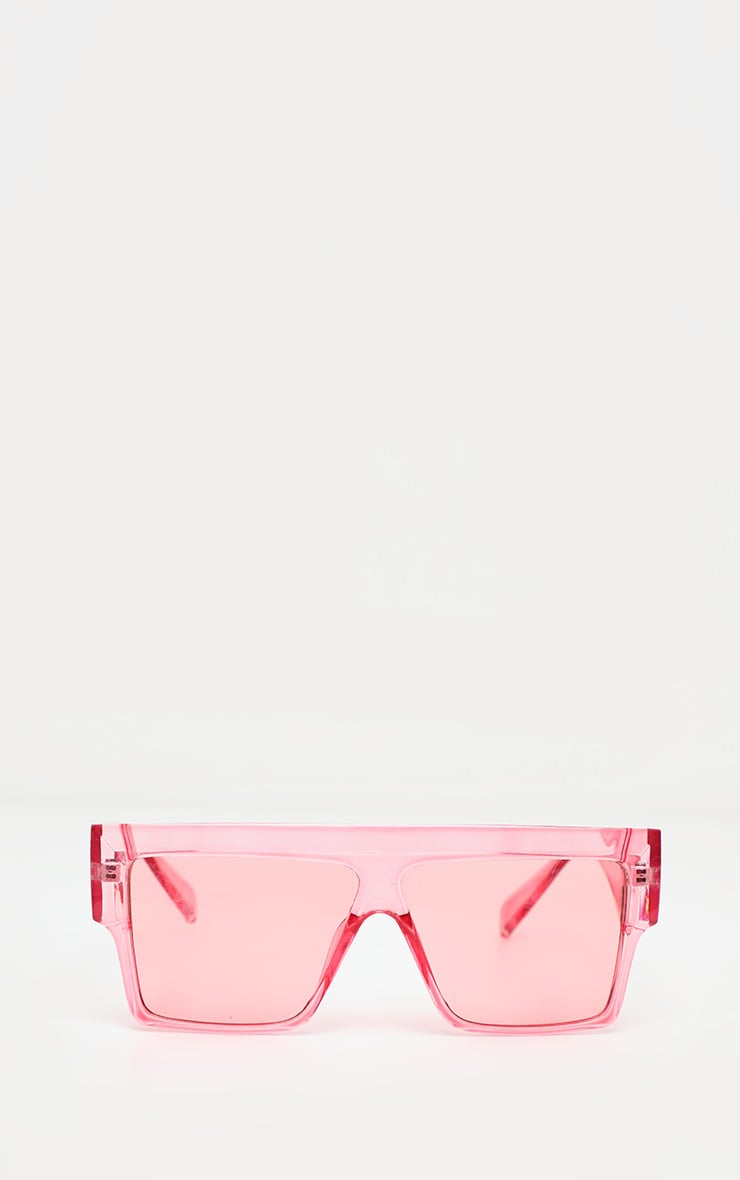 Pink Fade Oversized Transparent Square Sunglasses 2