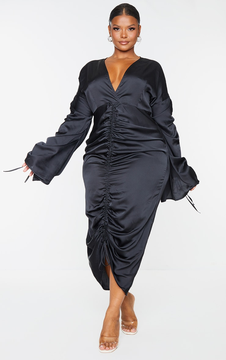 Plus Black Satin Ruched Plunge Bodycon Midi Dress 1