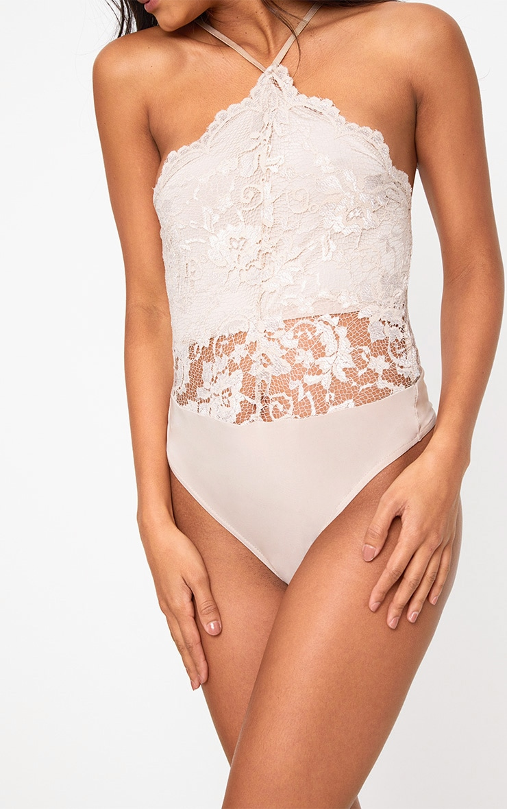 Nude Scallop Lace Thong Bodysuit 6