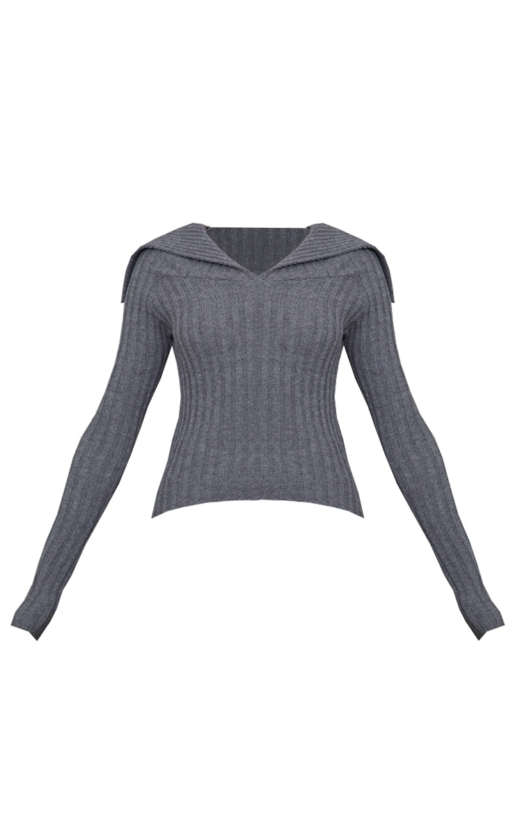 Charcoal Off Shoulder Collar Detail Ribbed Sweater 5