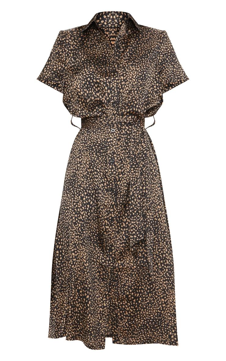 Black Dalmatian Print Short Sleeve Midi Shirt Dress 3