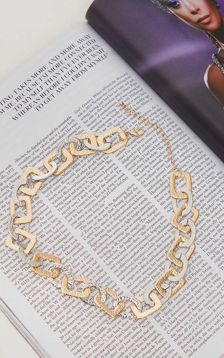 Gold Hammered Mixed Metal Square and Round Link Necklace 3