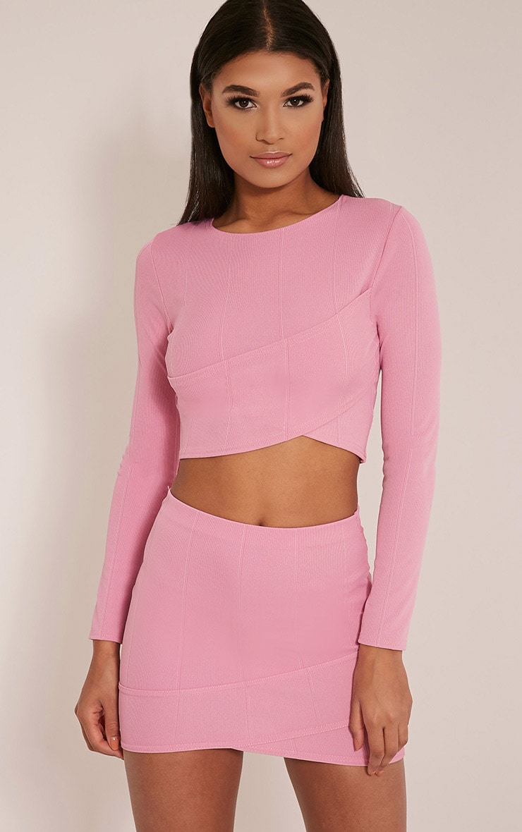 Alena Bubblegum Pink Cross Front Bandage Mini Skirt 1
