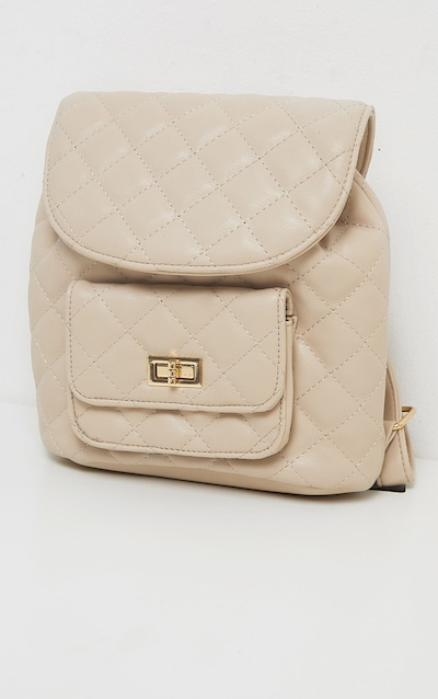 Cream Quilted Medium Backpack