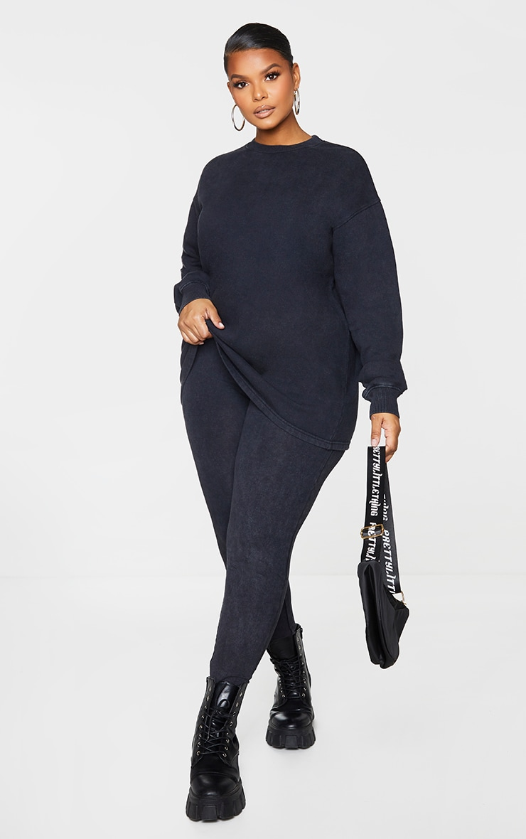 Plus Black Washed Longline Sweater 3