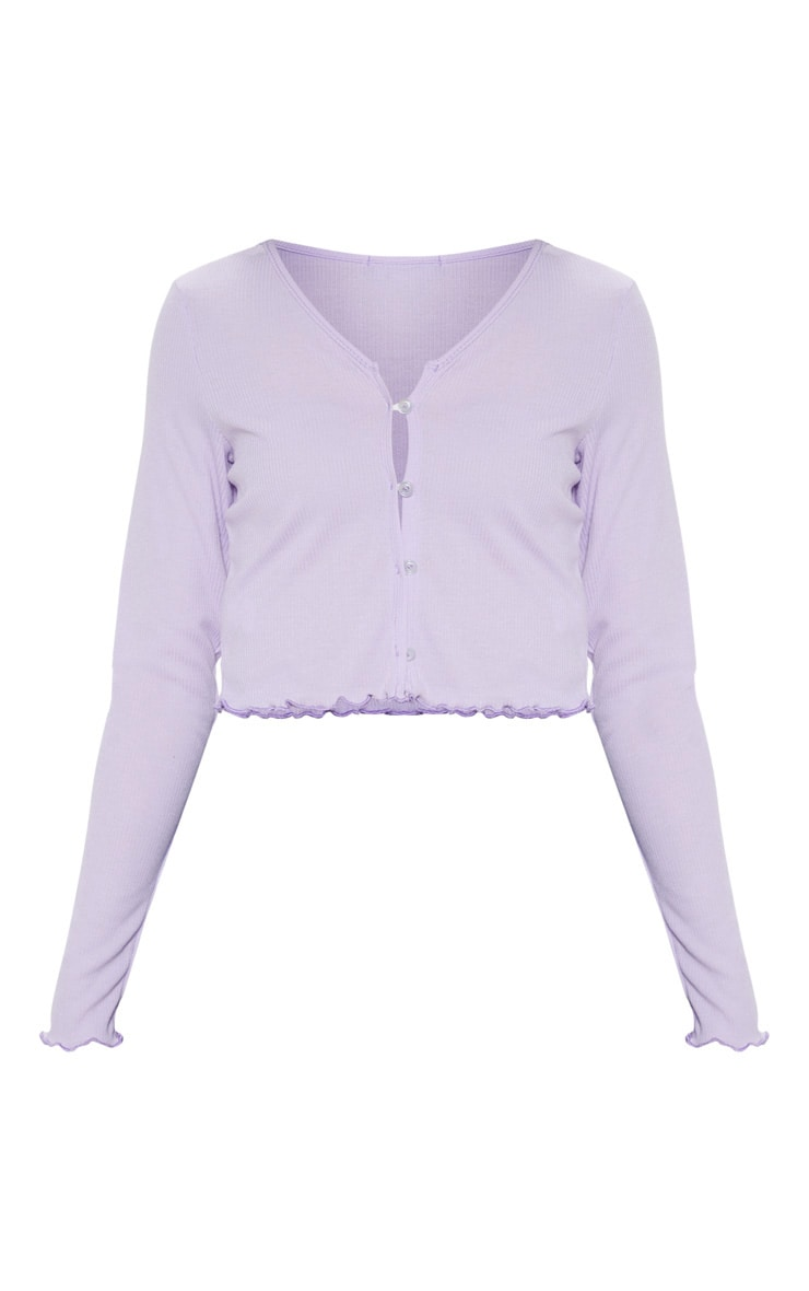 Lilac Rib Button Front Long Sleeve Crop Top 3