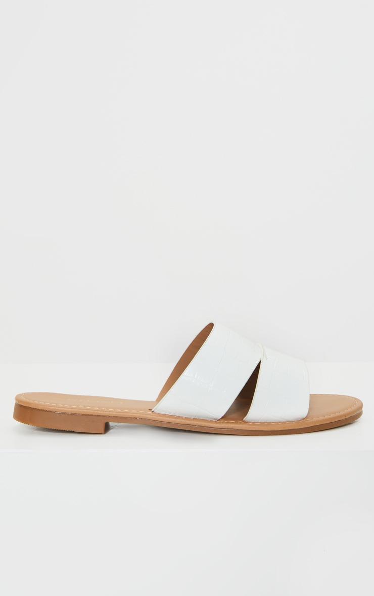 White Croc Wide Fit Double Strap Mule Flat Sandal 3